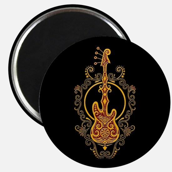 Intricate Golden Red Bass Guitar Design Magnets
