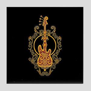 Intricate Golden Red Bass Guitar Design Tile Coast