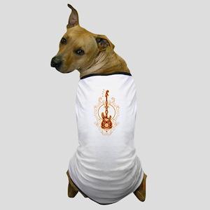 Intricate Golden Red Bass Guitar Design Dog T-Shir