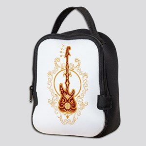 Intricate Golden Red Bass Neoprene Lunch Bag