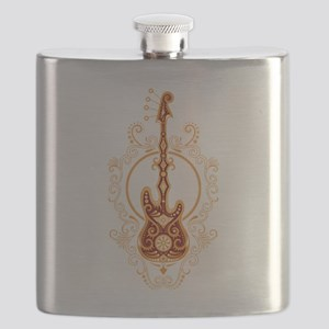 Intricate Golden Red Bass Guitar Design Flask