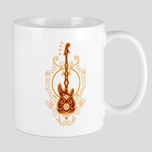 Intricate Golden Red Bass Guitar Design Mugs