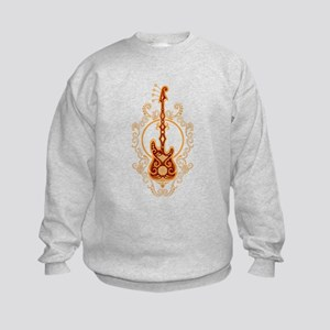 Intricate Golden Red Bass Guitar Design Jumpers