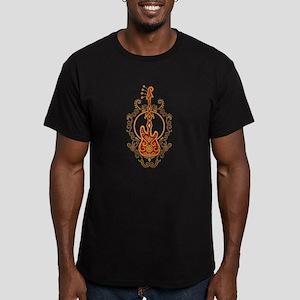 Intricate Golden Red Bass Guitar Design T-Shirt