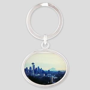Seattle 2 Oval Keychain