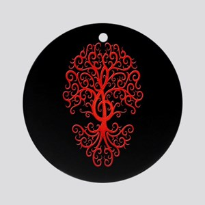 Red Treble Clef Tree of Life on Black Ornament (Ro