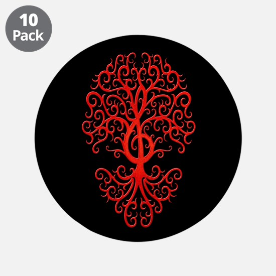 """Red Treble Clef Tree of Life on Black 3.5"""" Button"""