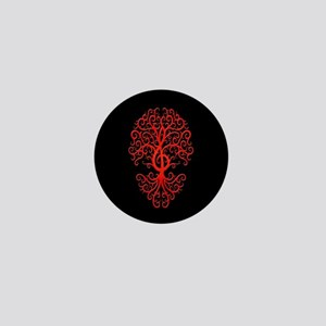 Red Treble Clef Tree of Life on Black Mini Button