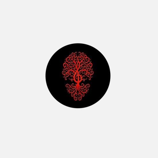 Red Treble Clef Tree of Life on Black Mini Button