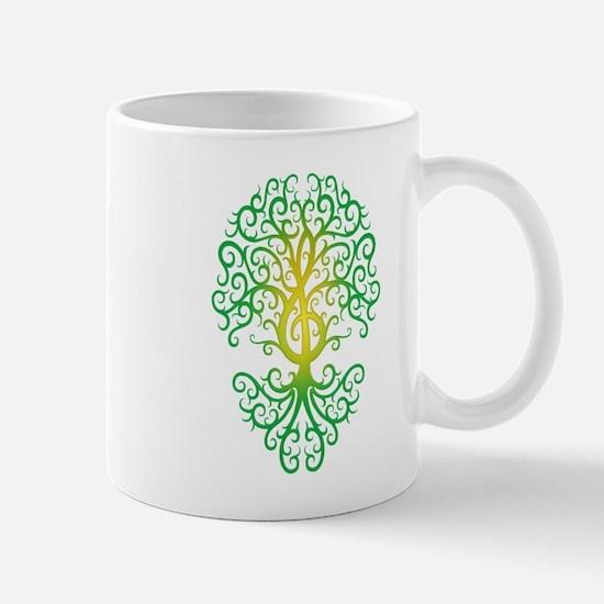 Green Treble Clef Tree of Life Mugs