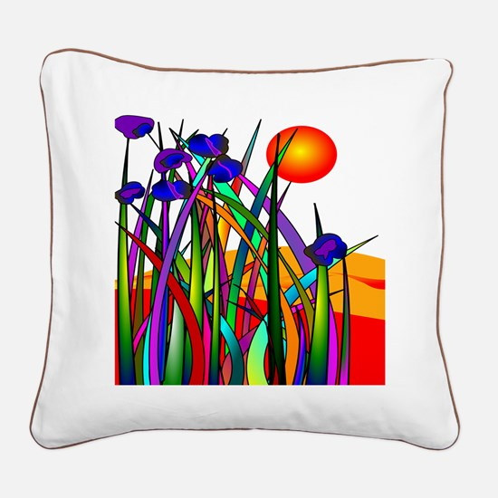 Whimsical Plants Sunset Square Canvas Pillow