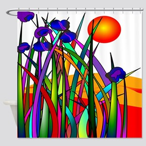Whimsical Plants Sunset Shower Curtain