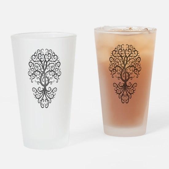 Dark Treble Clef Tree of Life Drinking Glass