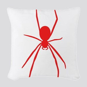 Red Black Widow Spider Woven Throw Pillow