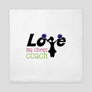 Love my cheer coach Queen Duvet