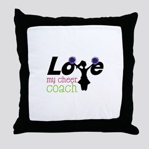 Love my cheer coach Throw Pillow