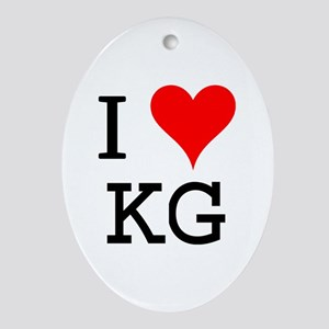 I Love KG Oval Ornament