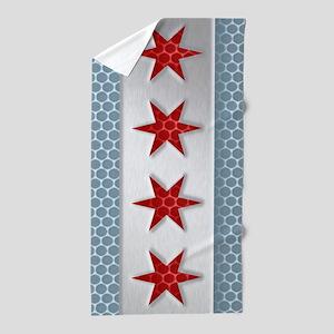 Chicago Flag Metal Look Beach Towel