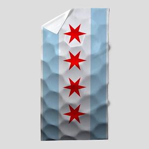 Chicago Flag Golf Ball Beach Towel