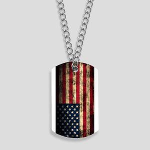 Vintage American Flag Grunge Dog Tags