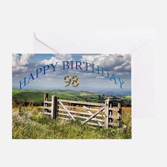 98th Birthday, a landscape with a gate Greeting Ca