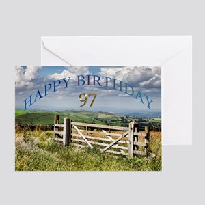 97th Birthday, a landscape with a gate Greeting Ca