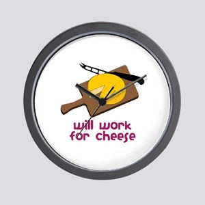 Will Work For Cheese Wall Clock