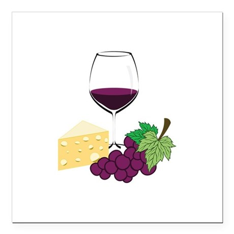 """Wine And Cheese Square Car Magnet 3"""" x 3"""""""