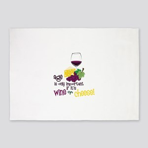 Wine Or Cheese! 5'x7'Area Rug