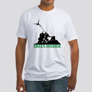 Green Soldier Wind Turbine Fitted T-Shirt