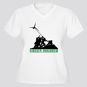 Green Soldier Win Women's Plus Size V-Neck T-Shirt