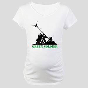 Green Soldier Wind Turbine Maternity T-Shirt
