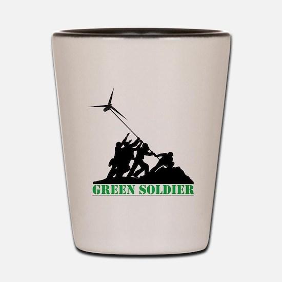 Green Soldier Wind Turbine Shot Glass
