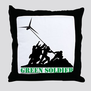 Green Soldier Wind Turbine Throw Pillow