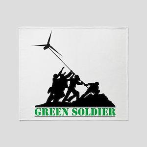Green Soldier Wind Turbine Throw Blanket