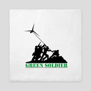 Green Soldier Wind Turbine Queen Duvet