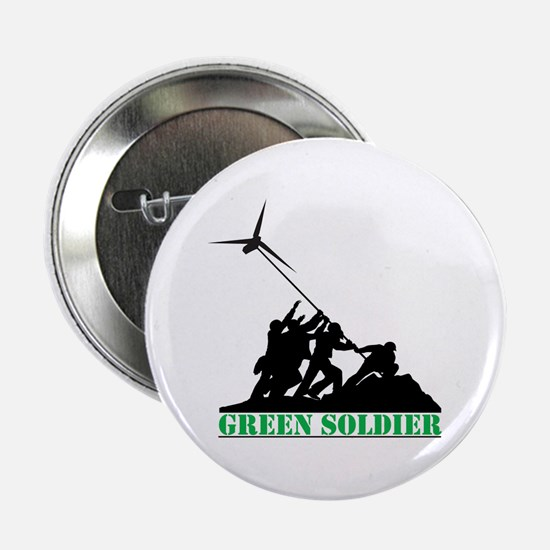 """Green Soldier Wind Turbine 2.25"""" Button"""