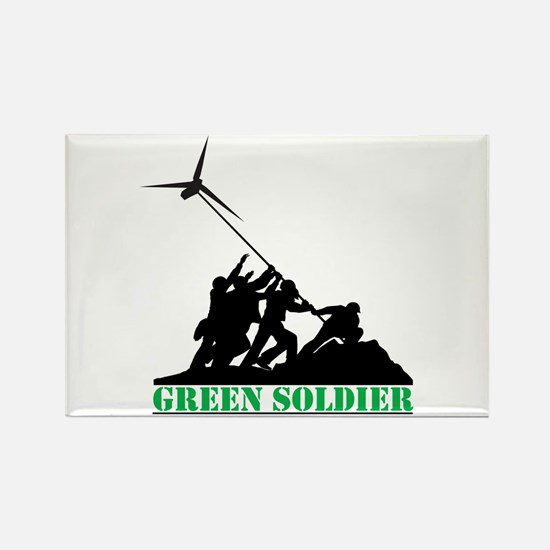 Green Soldier Wind Turbine Rectangle Magnet