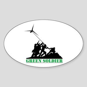 Green Soldier Wind Turbine Sticker (Oval)
