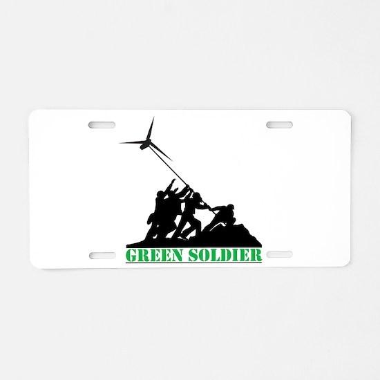 Green Soldier Wind Turbine Aluminum License Plate