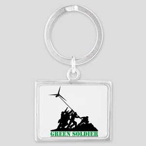 Green Soldier Wind Turbine Landscape Keychain
