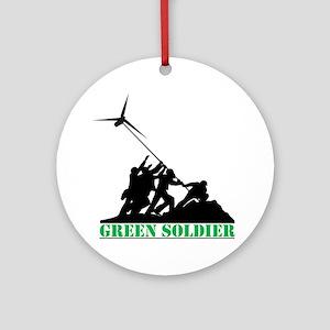 Green Soldier Wind Turbine Ornament (Round)