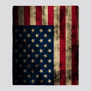 Vintage American Flag Grunge Throw Blanket