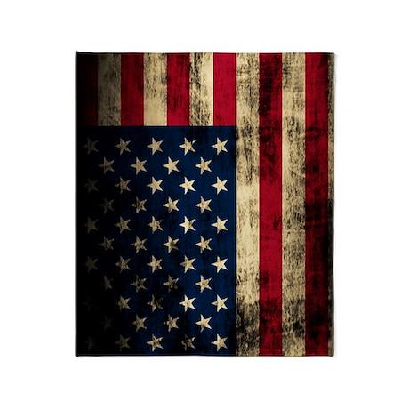 Vintage American Flag Grunge Throw Blanket
