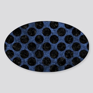 CIRCLES2 BLACK MARBLE & BLUE STONE Sticker (Oval)