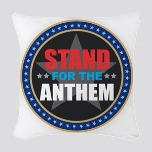 Stand for the Anthem Woven Throw Pillow