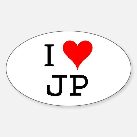 I Love JP Oval Decal