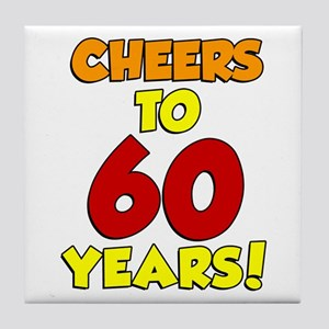 Cheers to 60 Years Glass Tile Coaster
