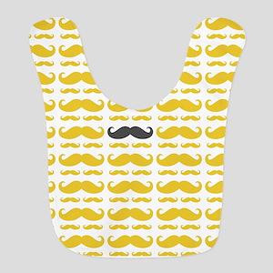 Yellow Grey Mustache Pattern Bib