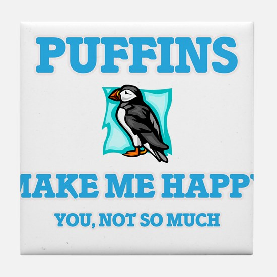 Puffins Make Me Happy Tile Coaster